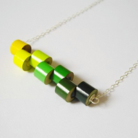 Sterling silver color pencil necklace, the Spring Collection No. 1