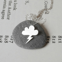 lightning cloud necklace in sterling silver