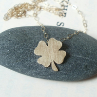 lucky shamrock in 9ct yellow gold, handmade in beautiful Cornwall, UK