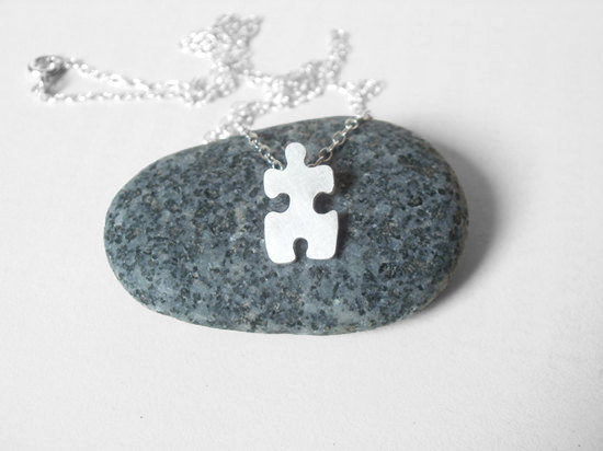 jigsaw puzzle necklace version No.2, handmade