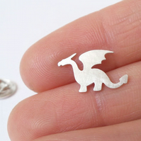 dragon lapel pin, tie tack in sterling silver