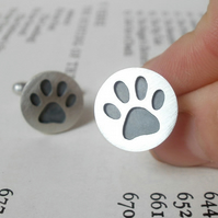 oxidized paw print cufflinks in sterling silver