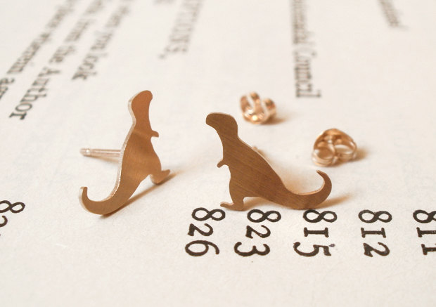 T-Rex earring studs in 9ct yellow gold, handmade