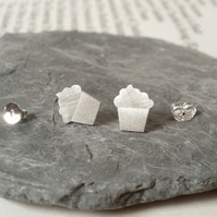 cupcake earring studs in sterling silver