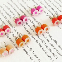 colour pencil earring studs, the orange, magenta and red collection
