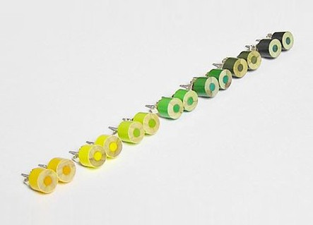 colour pencil ear studs, the yellow and green collection