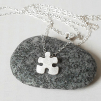 jigsaw puzzle necklace, handmade in UK
