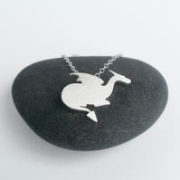 crouching dragon necklace in sterling silver, handmade