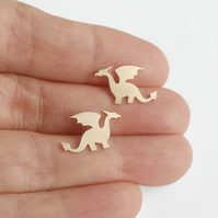 dragon earring studs in 9ct yellow gold, handmade