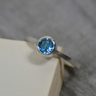 blue topaz ring set in sterling silver, topaz stacker, topaz solitaire ring