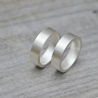 flat wedding band 5.5 mm wide in sterling silver, handmade in Cornwall, UK