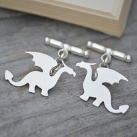 Dragon cufflinks in sterling silver