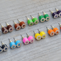 colour pencil ear studs, the hexagon version in candy colours