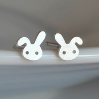 bunny rabbit earring studs with floppy ear, handmade in sterling silver
