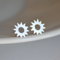 sterling silver sunny earring studs, handmade in Cornwall