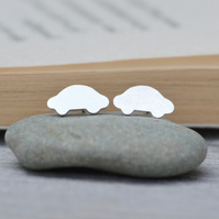 small car earring studs, handmade in sterling silver