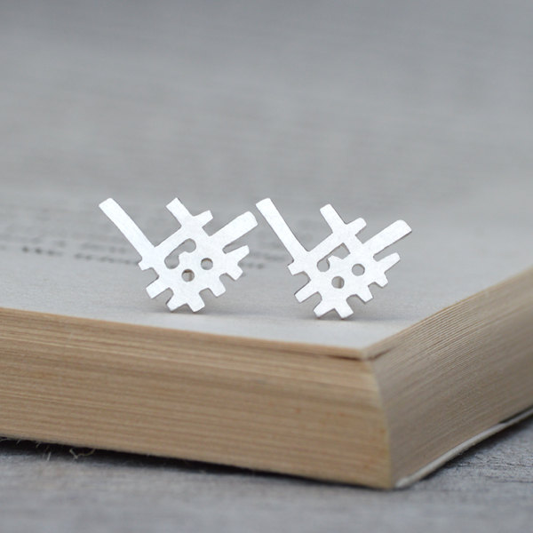 abstract ear studs in sterling silver, handmade