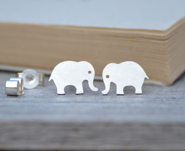 elephant earring studs in sterling silver, handmade