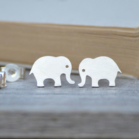 elephant earring studs in sterling silver