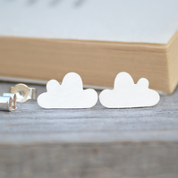 fluffy cloud earring studs in sterling silver