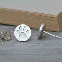 paw print earring studs in sterling silver, solid pawprint