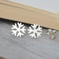 snowflake ear studs in sterling silver