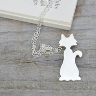 cat necklace in sterling silver