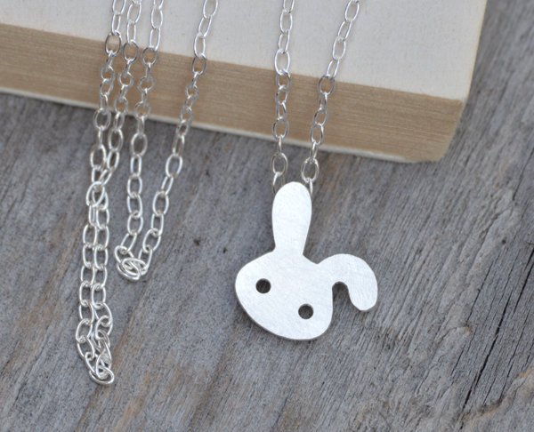 bunny rabbit necklace with floppy earing