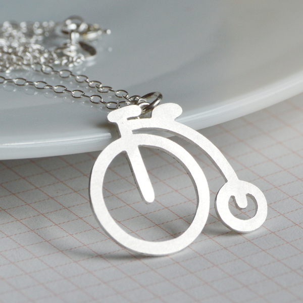 Penny Farthing necklace in sterling silver, handmade