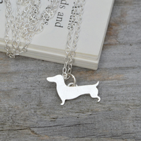dachshund necklace in sterling silver, sausage dog necklace