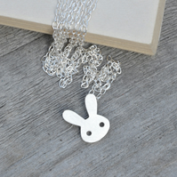 bunny rabbit necklace in sterling silver
