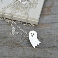 little spooky ghost necklace in sterling silver