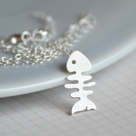 fish bone necklace in sterling silver