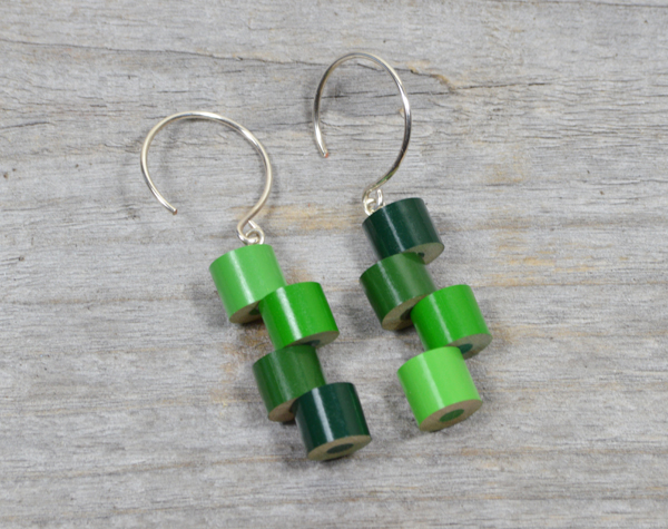 color pencil dangle earrings in green