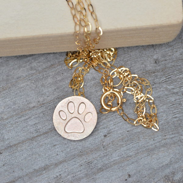 pawprint necklace in 9ct yellow gold, handmade