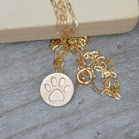 pawprint necklace in 9ct yellow gold