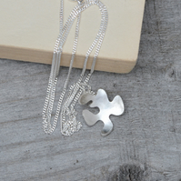 petal necklace in sterling silver, handmade in the UK