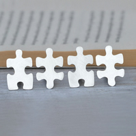 Jigsaw puzzle cufflinks in sterling silver