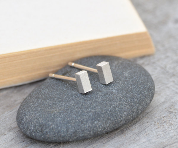little square stick earring studs, handmade in UK
