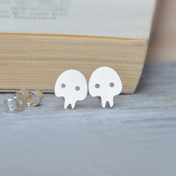 skull earring studs in sterling silver