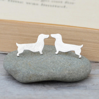 dachshund earring studs in sterling silver, sausage dog earring studs