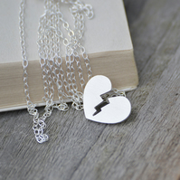 Broken heart necklace in sterling silver