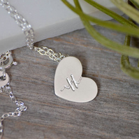 Mended heart necklace in sterling silver