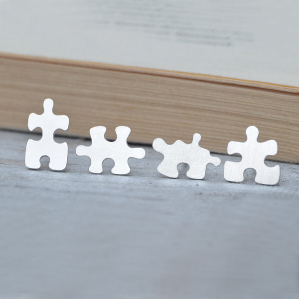 jigsaw puzzle ear studs (1 pair) in sterling silver