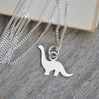 brontosaurus dinosaur necklace in sterling silver