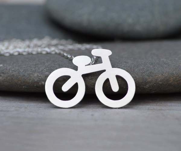 holiday bicycle necklace in sterling silver, handmade in UK