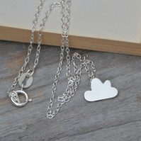 fluffy happy cloud necklace in sterling silver
