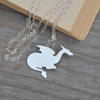crouching dragon necklace in sterling silver
