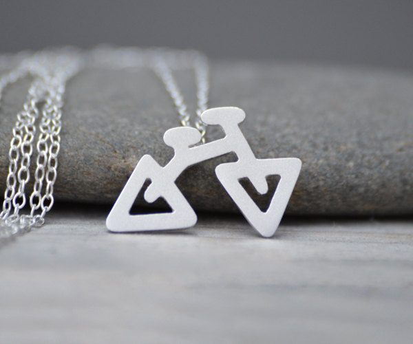 triangular bicycle necklace in sterling silver