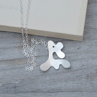 abstract deer necklace in sterling silver